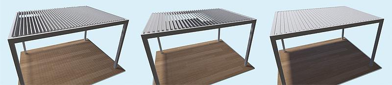 Η νέα πέργκολα της ALFA προσφέρει τη δυνατότητα ρύθμισης των περσίδων σκίασης από 0° έως 135°